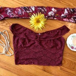 🌺 Intimately Free People Burgundy Lace Bralette L